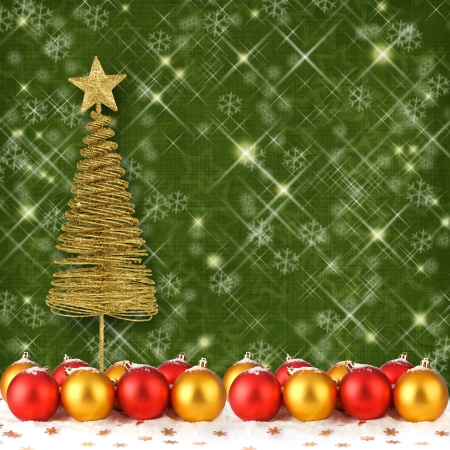 Christmas ball with greeting card on the abstract sparkling background Stock Photo - 16569134
