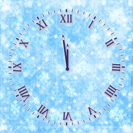 Antique clock face on the abstract background with snowflakes and stars photo