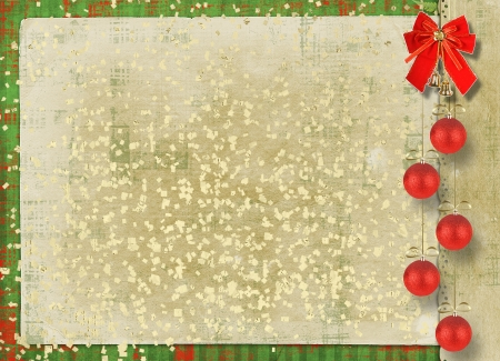 Beautiful card for congratulation or invitation with  red bow and spheres Stock Photo - 16584073