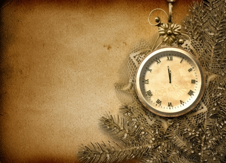 Antique clock face with lace and firtree on the abstract background  photo
