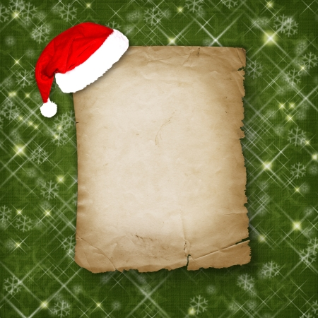 feliz: Christmas greeting card with old paper on the green abstract background