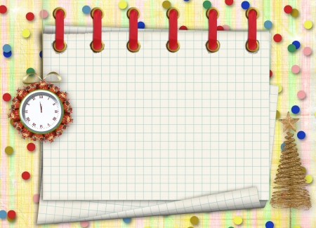 Christmas gifts to the clock on the abstract background with confetti and stars photo