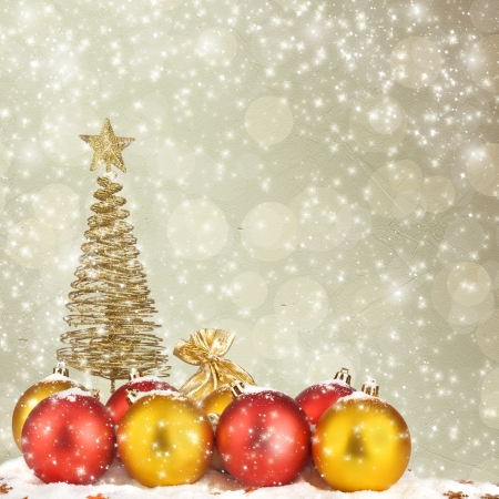 Christmas tree with balls and gift bags on snow background abstract Stock Photo - 16688192
