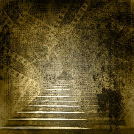 Stone stairs in the old paper background with slides photo
