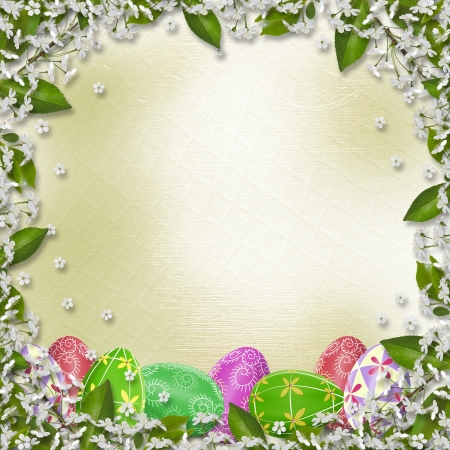 Pastel background with multicolored eggs and Sakura to celebrate Easter  photo