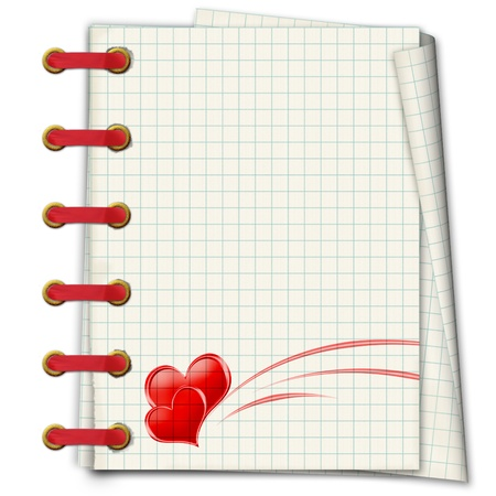 Notebook with red hearts to the Valentine's day  photo