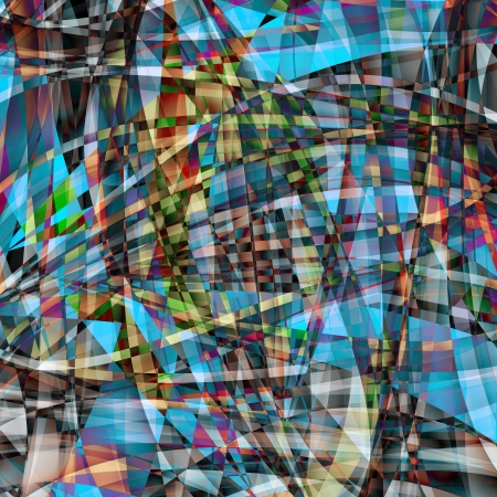 Abstract chaotic pattern with colorful translucent curved lines photo