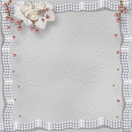 pearl background: Card for anniversary or congratulation to St. Valentines Day with hearts and buttonhole Stock Photo