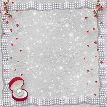 february 14th: Card for anniversary or congratulation to St. Valentines Day with hearts and pearls Stock Photo
