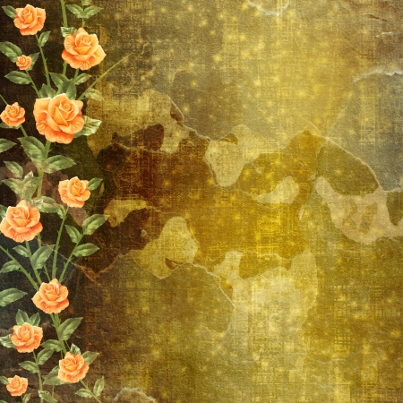 Grunge concrete wall with garland of painting rose photo