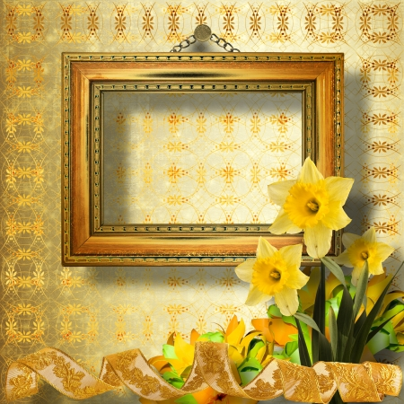 Old wooden frame for photo with bunch of flower narcissus photo