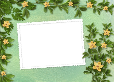 Card for invitation or congratulation with orchids and twigs  photo