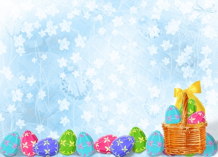 Pastel background with multicolored eggs to celebrate Easter photo