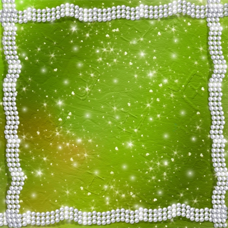 Abstract green background with white beautiful pearls  photo