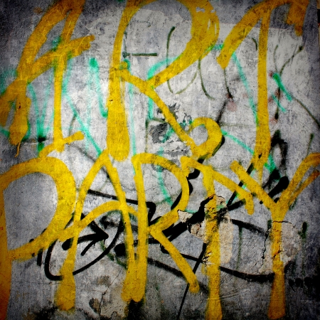Plain text in style of graffiti on the old plastered wall photo