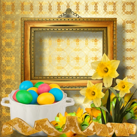 Pastel background with multicolored eggs and narcissus to celebrate Easter photo