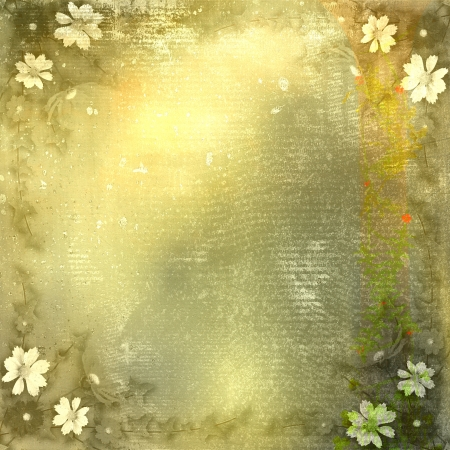 Abstract grunge background with bunch of flowers photo