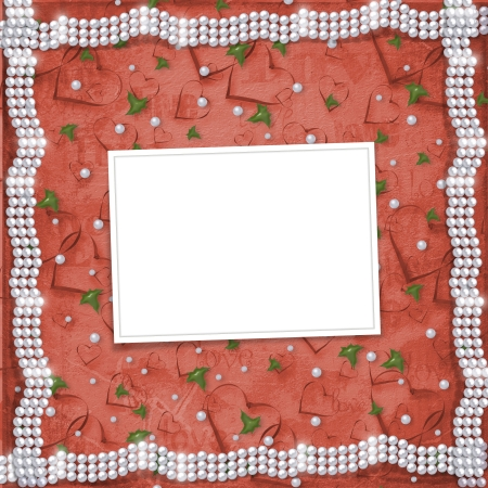 buttonhole: Card for anniversary or congratulation to St. Valentines Day with hearts and buttonhole Stock Photo