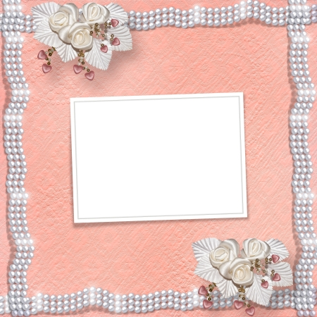 Card for anniversary or congratulation to St. Valentine's Day with hearts and buttonhole Stock Photo - 18139263