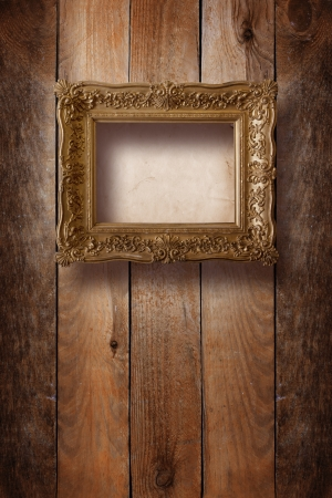 Old room, grunge interior with frames in style baroque  photo