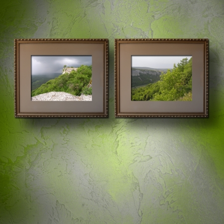 Photos of the Crimea in the old wooden frame on the wall photo