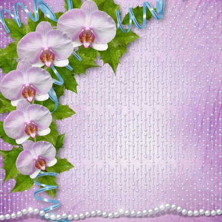 Greeting card with beautiful branch orchid and pearls for a wedding or birthday photo