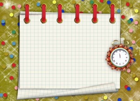 watch new year: Christmas gifts to the clock on the abstract background with confetti and stars