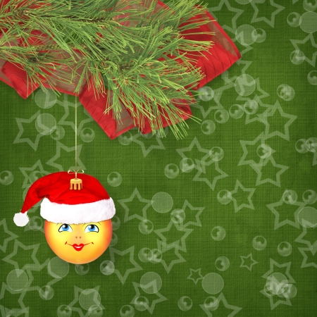 Christmas ball in the hat of Santa Claus with pine branches on the abstract background Stock Photo - 21636982