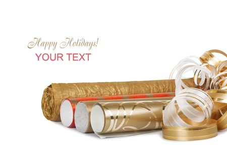 lacet: Rolls of colored wrapping paper with streamer for gifts isolated on white background Stock Photo