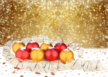 Christmas ball with greeting card on the white isolated background photo