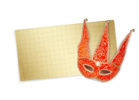 Carnival red mask with old paper for greeting on isolated white background  photo