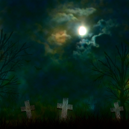 ominous: Spooky Halloween graveyard with dark clouds and ominous moon