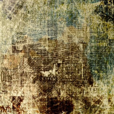 Grunge abstract newspaper background for design with old torn posters photo