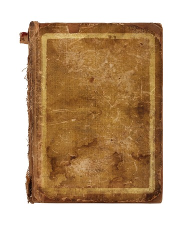 Old worn book cover isolated on white background photo