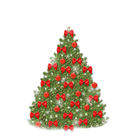 Christmas tree with red balls and beautiful bows isolated on white background photo