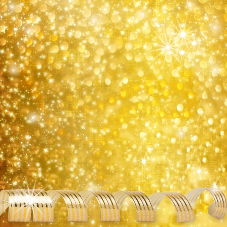 lacet: Gold paper horizontal ribbon on abstract snowy background fetti Stock Photo