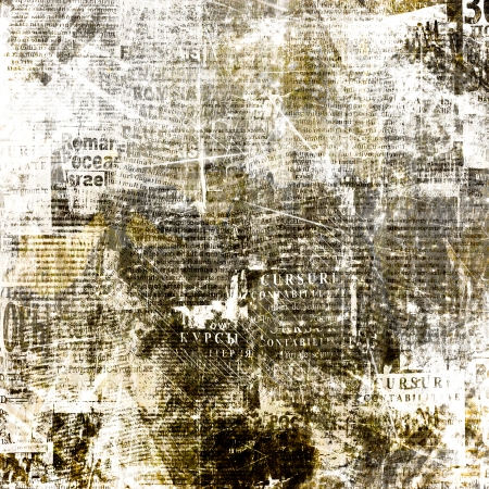 daily newspaper: Grunge abstract newspaper background for design with old torn posters