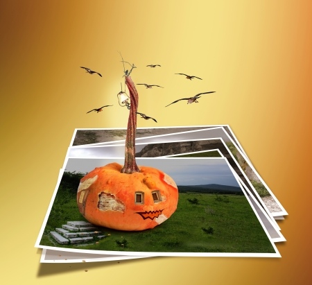 Collapsing house pumpkin wall with fragments isolated on abstract . Fairytale fantasy and fiction photo