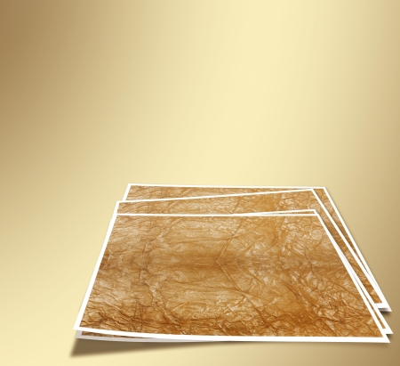 A set of sheets for photos on the gold abstract background Stock Photo - 22930386
