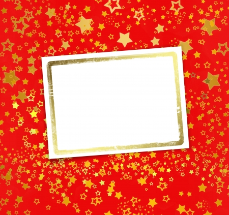 Greeting card with frame on a beautiful background with gold stars photo