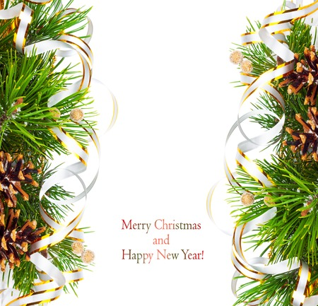 lacet: Christmas fir branch with pine cones, gold streamers and stars on a white background isolated