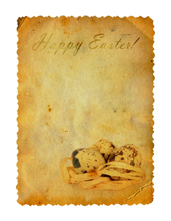 Grunge carved postcard with eggs to celebrate Easter on the white isolated