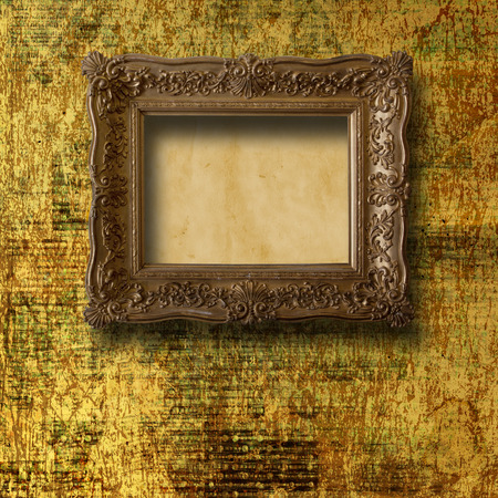 baroque room: Old room, grunge interior with frames in style baroque
