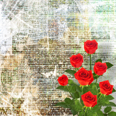 Red rose with green leaves on the gold abstract background photo
