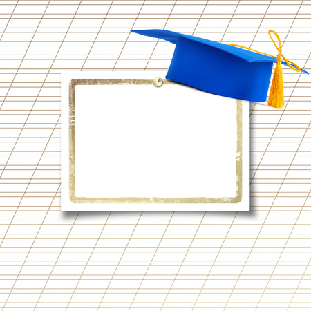 Mortar board or graduation cap with paper leaf  on the background notebook sheet  photo