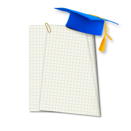 Mortar board or graduation cap with paper leaf  isolated on white background photo