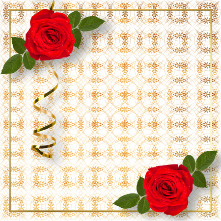 Bouquet of beautiful red roses with the invitation or congratulation on the white paper photo