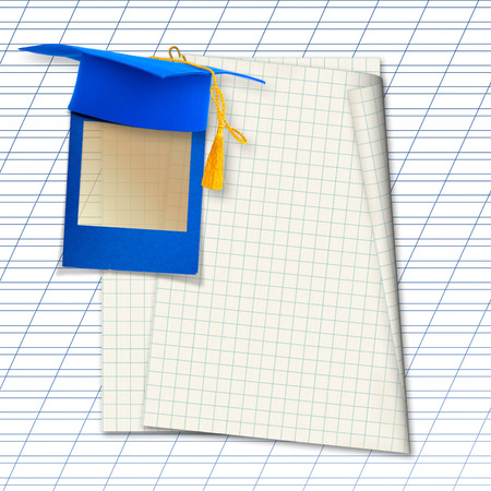 Mortar board or graduation cap with blue slide on the background notebook sheet  Stock Photo