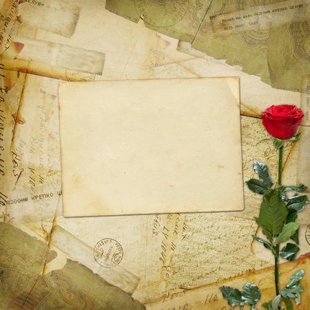 Vintage aged background, old Postcard, envelopes and rose Stock Photo