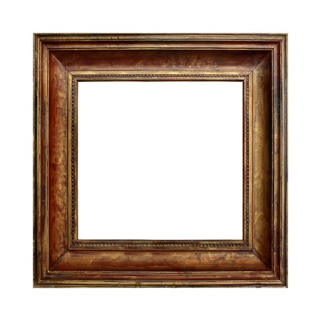 Picture gold wooden frame on the white isolated background